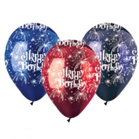 12 inch CTI Happy Birthday Fireworks Latex Balloons Crystal Assorted - 50 count