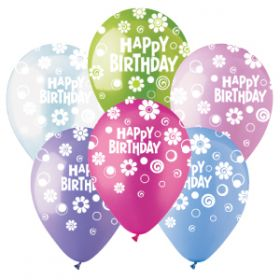 12 inch CTI Happy Birthday Dots and Daisies Latex Balloons Pastel Assorted - 50 count