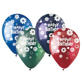 12 inch CTI Happy Birthday Dots and Daisies Latex Balloons Crystal Assorted - 50 count