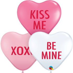 6 inch Qualatex Love Expression Assortment Heart Shape Latex Balloons - 100 count
