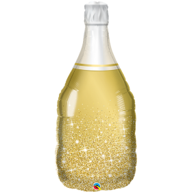 39 inch Qualatex Golden Bubbly Wine Bottle Foil Balloon - Packaged