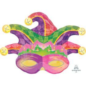 31 inch Anagram Mardi Gras Mask Shape Foil Balloon - Flat