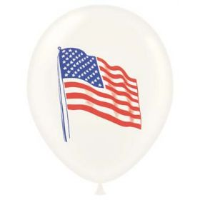 11 inch Tuf-Tex American Flag 2 Sided Latex Balloons - 100 count