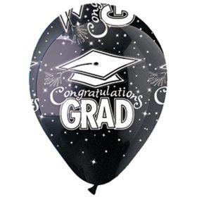 12 inch CTI Congratulations GRAD Black Latex Balloons - 50 count