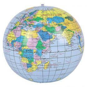 16 inch Blue Earth Globe Beach Ball (11 inch inflated diameter)