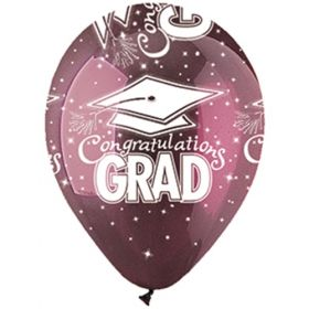 12 inch CTI Congratulations GRAD Burgundy Latex Balloons - 50 count