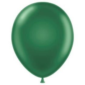 17 inch Tuf-Tex Metallic Forest Green Latex Balloons - 50 count