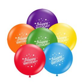 11 inch Tuf-Tex Fun Mix Happy Birthday 2 Sided Latex Balloons - 100 count