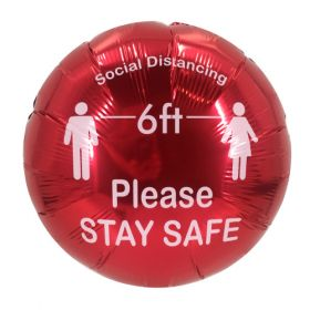 "18"" Social Distancing Stay Safe Red Circle Foil Mylar Balloon - 10 pack"