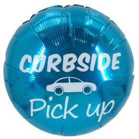 "18"" Curbside Pick Up Turquoise Circle Foil Mylar Balloons - 10 pack"
