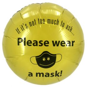 "18"" Please Wear A Mask Yellow Circle Foil Mylar Balloons - 10 pack"