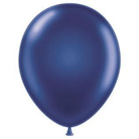 17 inch Tuf-Tex Metallic Midnight Blue Latex Balloons - 50 count
