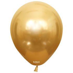 12 inch Kalisan Gold Mirror Chrome Latex Balloons - 50 ct
