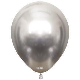 12 inch Kalisan Silver Mirror Chrome Latex Balloons - 50 ct