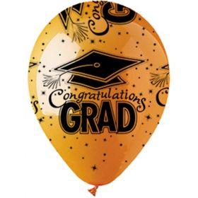 12 inch CTI Congratulations GRAD Orange Latex Balloons - 50 count