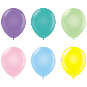 17 inch Tuf-Tex Assorted Pastel Latex Balloons - 50 count