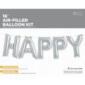 16 inch Silver HAPPY Letter Balloon Kit - AIR FILL