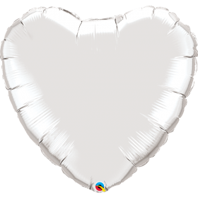 Qualatex 36 inch Silver Heart Foil Balloons