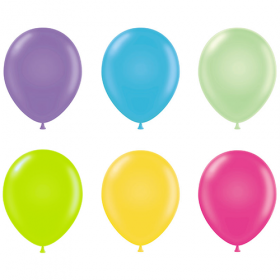 17 inch Tuf-Tex Assorted Tropical Latex Balloons - 50 count