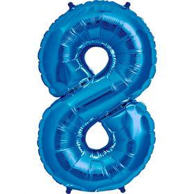 34 inch Kaleidoscope Blue Number 8 Foil Balloon