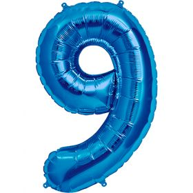 34 inch Kaleidoscope Blue Number 9 Foil Balloon