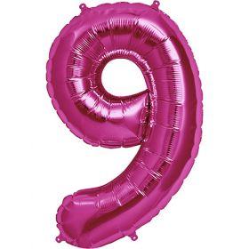 34 inch Kaleidoscope Magenta Number 9 Foil Balloon
