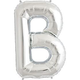 34 inch Kaleidoscope Silver Letter B Foil Mylar Balloon