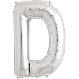 34 inch Kaleidoscope Silver Letter D Foil Mylar Balloon