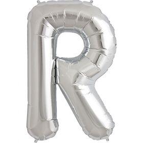 34 inch Kaleidoscope Silver Letter R Foil Mylar Balloon