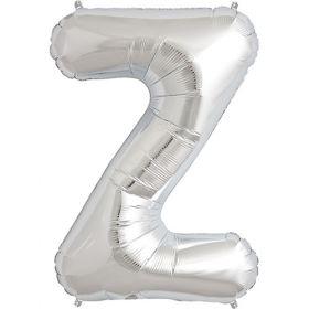 34 inch Kaleidoscope Silver Letter Z Foil Mylar Balloon