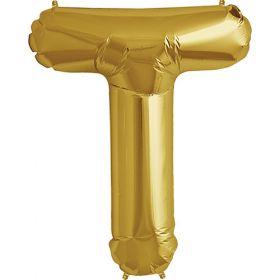 34 inch Kaleidoscope Gold Letter T Foil Mylar Balloon