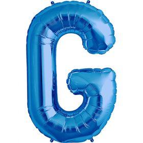 34 inch Kaleidoscope Blue Letter G Foil Balloon