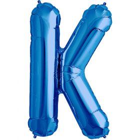34 inch Kaleidoscope Blue Letter K Foil Balloon