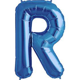 34 inch Kaleidoscope Blue Letter R Foil Balloon