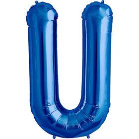 34 inch Kaleidoscope Blue Letter U Foil Balloon