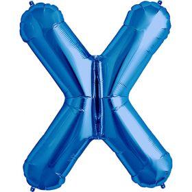 34 inch Kaleidoscope Blue Letter X Foil Balloon