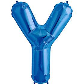 34 inch Kaleidoscope Blue Letter Y Foil Balloon