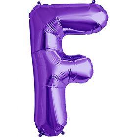 34 inch Purple Letter F Foil Mylar Balloon