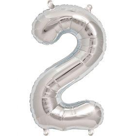 16 inch Northstar Silver Number 2 Foil Mylar Balloon
