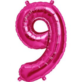 16 inch Northstar Magenta Number 9 Foil Mylar Balloon
