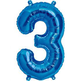16 inch Northstar Blue Number 3 Foil Mylar Balloon
