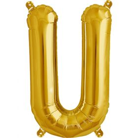 16 inch Northstar Gold Letter U Foil Mylar Balloon