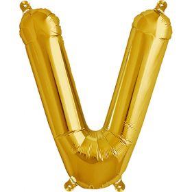 16 inch Northstar Gold Letter V Foil Mylar Balloon