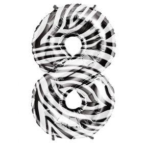 34 inch Zebra Stripe Number 8 Foil Mylar Balloon