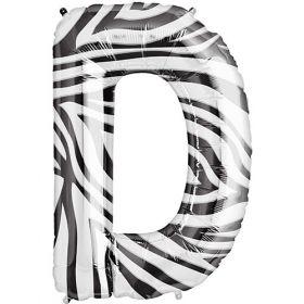34 inch Zebra Stripe Letter D Foil Mylar Balloon