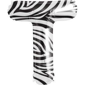 34 inch Zebra Stripe Letter T Foil Mylar Balloon