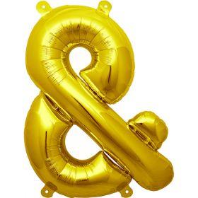 16 inch Northstar Gold Ampersand Foil Mylar Balloon