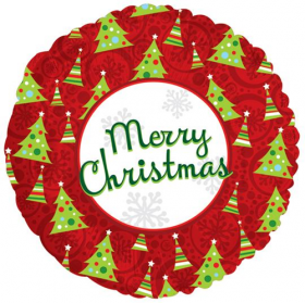 18 inch Foil Mylar Merry Christmas Round Balloon