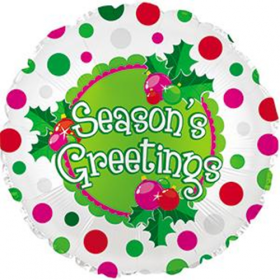 18 inch Foil Mylar Season's Greetings Round Balloon