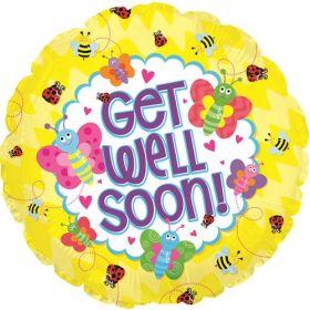 18 inch Get Well Soon Bugs Circle Foil Mylar Balloon